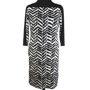 Tahari abstract chevron sheath dress